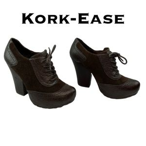 Kork-Ease Suede and Leather Platform Ankle Boots